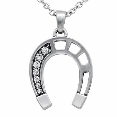470562b49 Lucky Horseshoe Pendant Necklace with Swarovski Crystals Jewelry By Controse