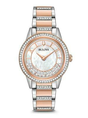 Bulova Women's White Mother of Pearl Dial Crystals TurnStyle Watch 98L246