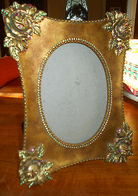 Gorgeous Floral and Rhinestone Victorian Style Picture Frame