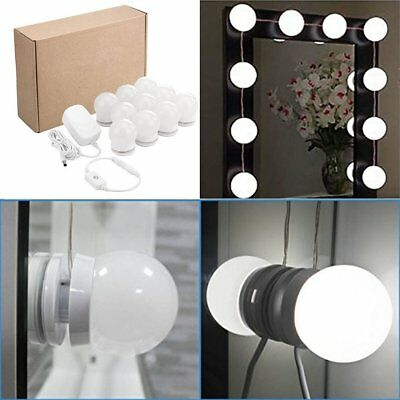 White Lighted Hollywood LED Vanity Mirror Light Kit for Makeup Dressing 10 Bulbs