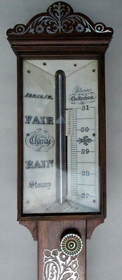 EXCEPTIONALLY FINE Rosewood Stick Barometer Abraham Cheltenhan early 19thCt