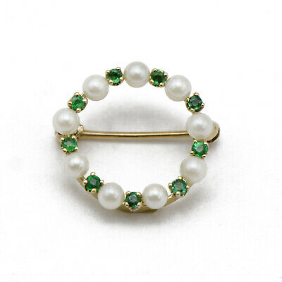 Vintage 14k Yellow Gold and Green Emerald & Pearl Brooch / Hat Pin