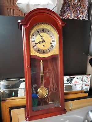 Woodford Westminster Chimes Strike Silent Mahogany Brass Pendulum Wall Clock