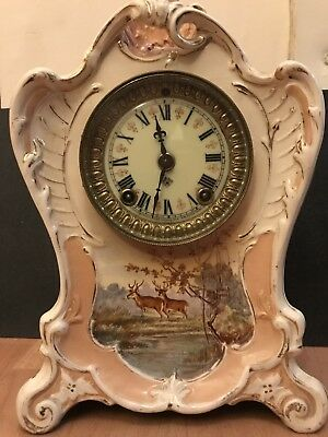 Antique Royal Bonn Porcelain Clock Ansonia Mechanism Beautiful Rare Piece