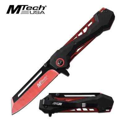 MTECH USA Red Cleaver Spring Assisted Blade Tactical Folding Pocket Knife TANTO