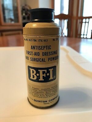 Vintage BFI Antiseptic First-Aid Dressing Surgical Powder TIN Quinton Co