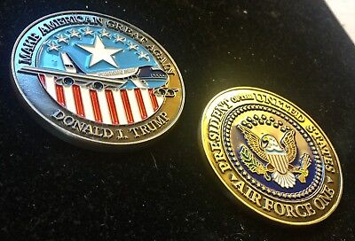 challenge coin    DONALD TRUMP Air Force One  AIRPLANE pewter POTUS