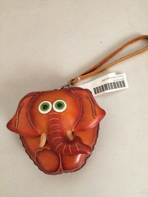 Elephant  Leather wristlet coin purse