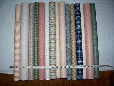 LARGE LOT of 15  Antique/Vintage Look Dollhouse Miniature WALLPAPER