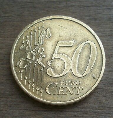 2002, Euro, 50 Cent, Gold Toned Coin, Germany (Munich), Circulated