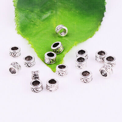 Round Spacer Bead Tube Charm Tibetan Silver Metal Accessories Findings 5x3mm