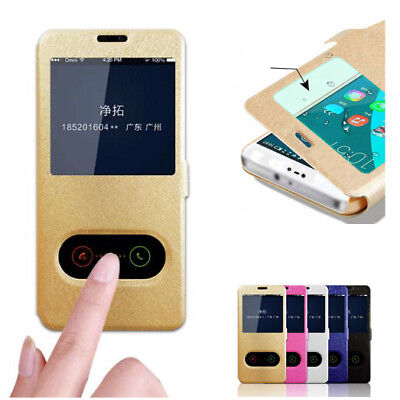Luxury Silk Skin Double Window Flip Stand PU Leather Cover Case for Huawei P20