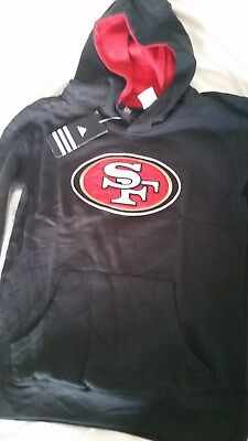 New Nfl San Fransisco 49Ers Authentic Bl.ack Hoodie - Boys Sz 10-12