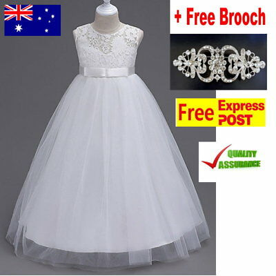 White Full Length Flower Girl Dress Wedding Communion Confirmation Girls Dress