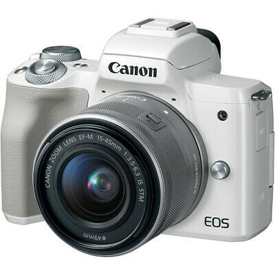 Canon EOS M50 White EF-M 15-45mm IS STM Lens Silver Multi ship from EU nuovo