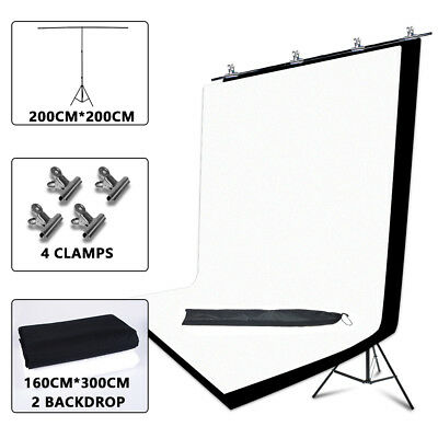 Photography Studio 1.6x3m Black White Backdrops 2x2m T-shape Support Stand Kit