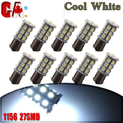 10x Cool White 1156 27SMD RV Camper Trailer LED Interior Light Bulbs 1073 1141