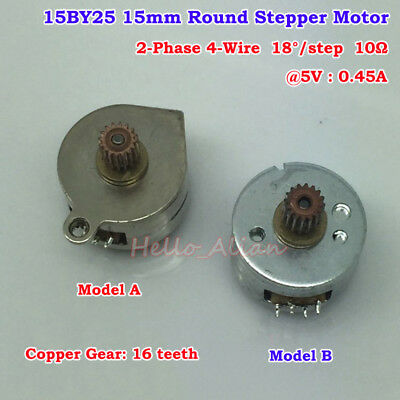 Mini 15BY25 15mm Round Stepper Stepping Motor 2-Phase 4-Wire w/ 16T Copper Gear