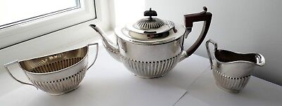 Antique William Hutton & Sons Silver Plated Epbm Teapot Sugar Bowl & Milk Jug