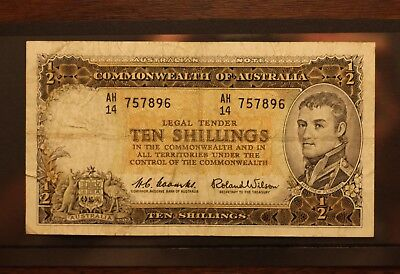 Australian 10 Shilling Paper Banknote Coombs and Wilson Pre Decimal Collectable