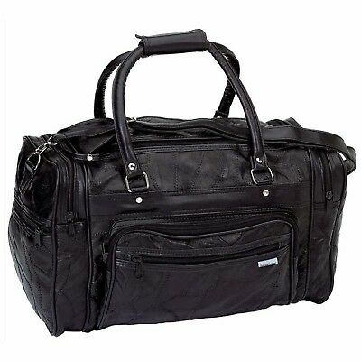Black GENUINE Leather Tote Bag Gym Duffle Travel Luggage Overnight Carry-on New