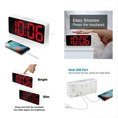"9"" Large LED Digital Alarm Clock With USB Port For Phone Charger, Snooze And"