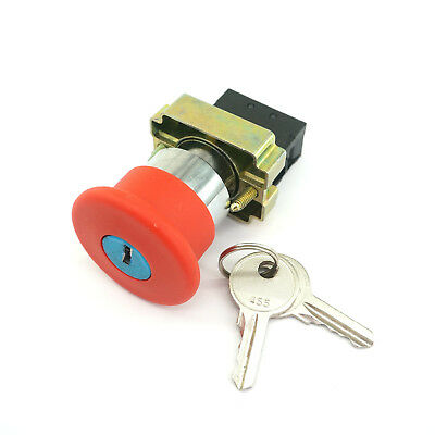 XB2BS142C 1N/C Key Released Red Emergency Stop Mushroom Push Button Switch