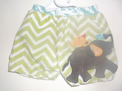 MUD PIE 🌟9-12M🌟SWIM TRUNKS 🌟Grn/Wht Chevron w 3D Appl Elephant and Bird