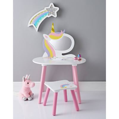 Childrens Bedroom Unicorn Dressing Table With Stool & Mirror Furniture