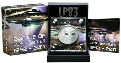 2017 1 Oz Silver 10000 Francs UFO, BATTLE OF THE  ANGELES 1942-2017 Coin..