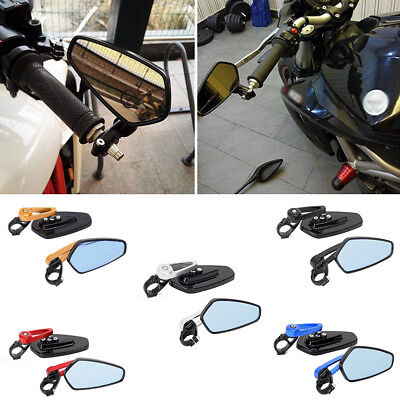 "Universal Motorcycle 7/8"" 22mm Handle Bar End Rearview Side Mirrors Aluminum"