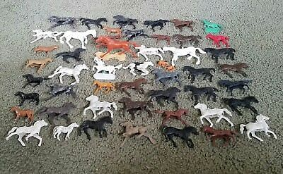 Vintage Lot Of 50+ Assorted Plastic Toy Horses Must See