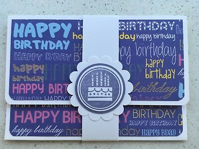 HANDMADE BIRTHDAY gift card holder. Purple. Fits credit card sized gift cards.