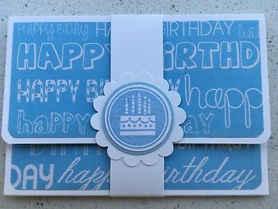 HANDMADE BIRTHDAY gift card holder. Blue. Fits credit card sized gift cards.