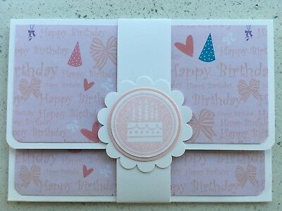 HANDMADE BIRTHDAY gift card holder. Pink. Fits credit card sized gift cards.