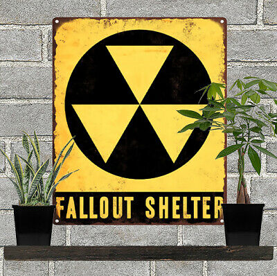 1960s Fallout Shelter Advertising Ad Baked Metal Repro Sign 10x12 60147