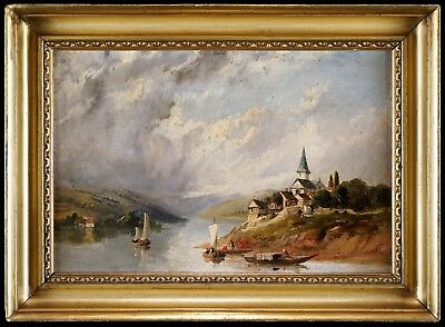 A Cloudy Riverside Landscape - Small 19th Century English School Oil Painting