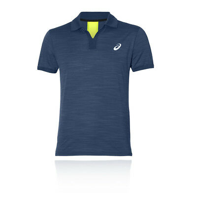 Asics Mens Classic Court Polo Navy Blue Sports Tennis Breathable Lightweight