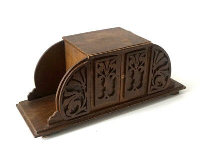 Antique Wooden Fretwork Large Mantel Clock Case  / Miniature Cupboard / Box