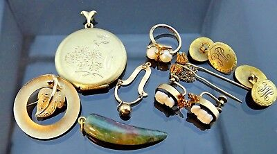 Lot Of Antique Gold Filled Fine Jewelry Fob/Ring/Pendant /Earrings/cufflink/Pins