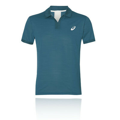 Asics Mens Classic Court Polo Blue Sports Tennis Breathable Lightweight