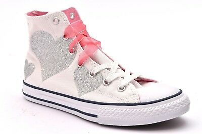Converse All Star Chucks UE 38 UK 55 CUORE HEART SKULL BIANCO ROSA LIMITED EDITION
