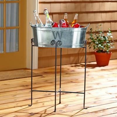 Personalized Galvanized Beverage Tub, Initial with Stand