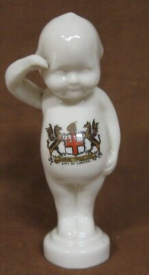 """Crested Ware China Saluting Baby or Kewpie, City of London, Impressed """"Willow"""""""