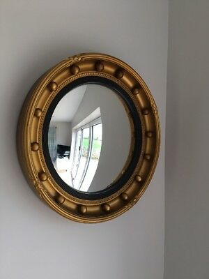 VINTAGE BRASS Effect Porthole Convex Fish Eye Mirror NAUTICAL MARITIME Piece