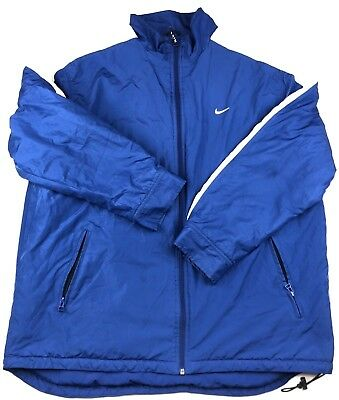 69bf9dc73a Vintage Nike Puffer Jacket Men Size XL Blue Full Zip Basic Coat Quilted  Lining