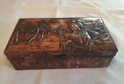 Antique Japanese Geisha Copper ornate trinket chest sunflowers Nice.