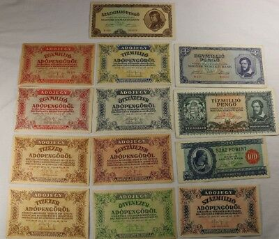 Lot of 13 Hungary Banknotes 1945 1946 Budapest Adopengorol Pengo Magyar