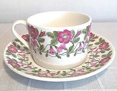 Vintage Gustavsberg Tornrosa Cup and Saucer Pink Roses Swedish China Dishes Rare
