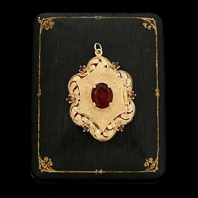 Antique Vintage Art Deco Retro 14k Yellow Gold Bohemian Garnet Locket Pendant